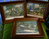 3 Antique N Currier Lithographs Frame Wall Hanging Currier & Ives American Small Folio No.3 American Farm scenes turn of the Century