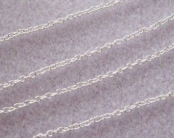 Bright Silver Plated Brass Cross Chain Soldered Link Nickel and Lead Free 2mm x 1.5mm 373