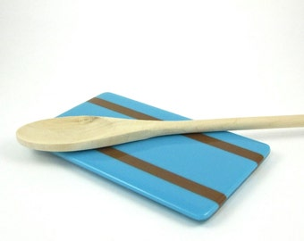 Blue and Brown Glass Spoon Rest - Fused Glass Striped Spoon Rest