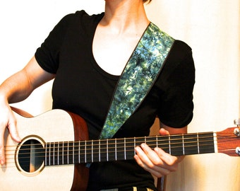 Vegan Guitar Strap-River Song-LIMITED Batik Pattern