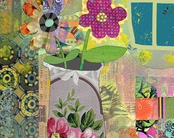 Boho Flowers Collage Wall Art Print