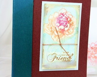 Card Hand Stamped Card Hand Painted All Occasion Card Blank Inside To My Very Best Friend