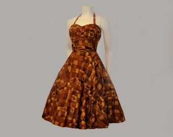 50s dress / Island Girl Vintage1950's Hawaiian Full Skirt Dress