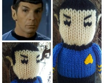 Mr Spock Hand Knit -soft stuffed toy doll - 10 inches tall