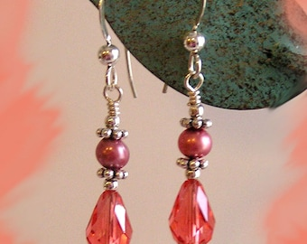 Swavroski n Fresh Water Pearls Sterling Earrings