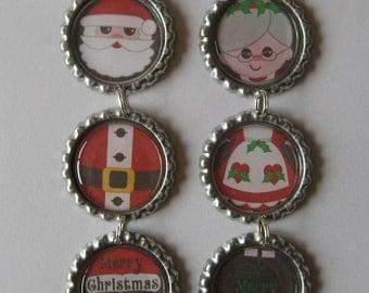 Santa Claus OR Mrs. Claus Flattened Bottle Cap Ornament
