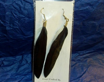 Black and White Feather Earrings 4""
