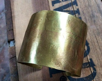 Hammered Brass Cuff with Patina
