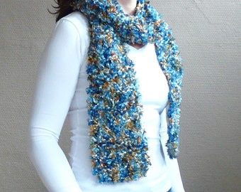 Soft Knit Scarf Fuzzy Scarf Long Skinny Scarf Multicolor Scarf in Blue and Brown Fuzzy Yarn