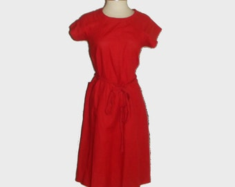 1980s dress / vintage 80s dress / medium m / Jordache Red Cotton and Linen Summer Dress