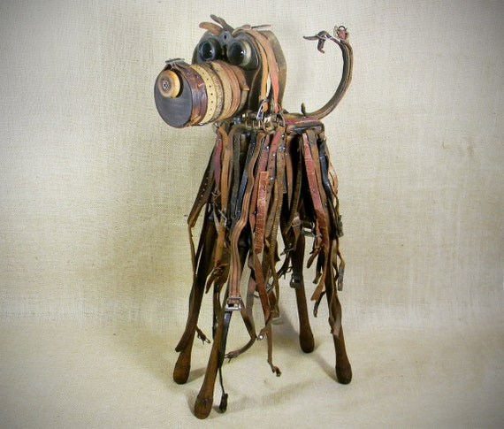 dog sculpture - assemblage - GNARLY - A Grooming Parlor Dropout - Reclaim2Fame