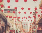 sale 25% off Chinatown San Francisco photo, red paper lanterns, chinese decor, asian, city street scene, California photography, cherry red,