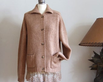 Pure wool cardigan in camel color, cardigan with lace ruffle, knitted tunic & lace ruffle, urban romantic warm cardigan tunic, READY TO SHIP