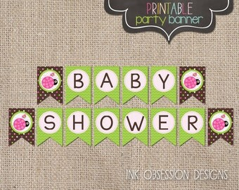 Girls Printable Baby Shower Banner Little Lady Green and Pink Ladybug Design Instant Download Printable PDF Bunting