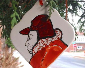 Hand painted ornament, Hunter