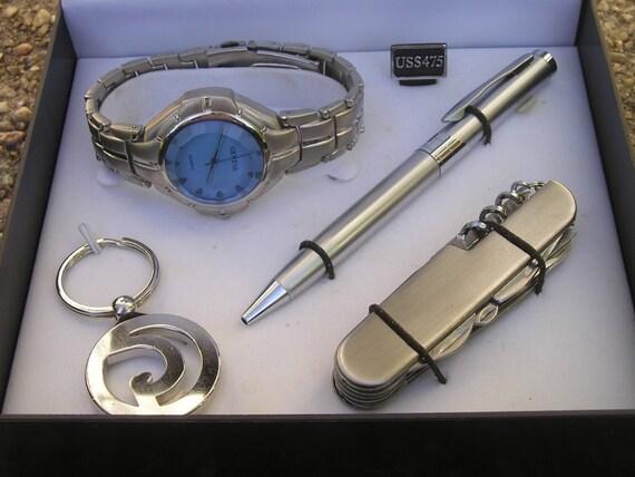 Men S Geneva Watch Keychain Pen Amp Swiss Army Knife Gift
