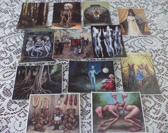 "Postcard Sampler, Fairy Tale, Folk Tale, Macabre Art.,Creepy Postcards, 4"" x 6"" Prints, Conjoined Twins, Baba Yaga, Rats in Formalin"
