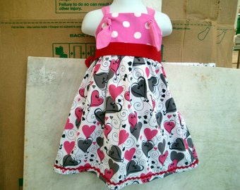 HEARTS and DOTS in black and pink Knot Dress