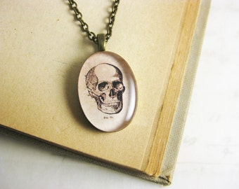 "Vintage Style Skull Pendant Necklace - Found Medical Illustration Resin jewelry - 19"" bronze chain with matching clasps"