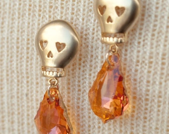 Gold Skull Earrings with Crystal Summer Blush Swarovski Baroque Crystals