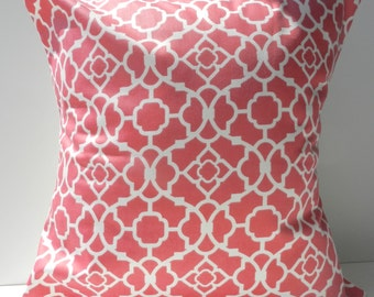 New 18x18 inch Designer Handmade Pillow Case in pink and white lattice pattern.