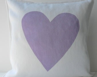 New 20x20 inch Designer Handmade Pillow Case with hand painted lavender heart
