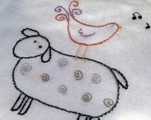 Hand Embroidery Pattern Folk Art Chicken Sheep Instant download pdf