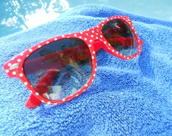 red polka dot sunglasses matted photo print