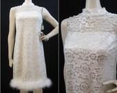 60s Dress Vintage Illusion Neckline Lace Feather Shift Cocktail Party S