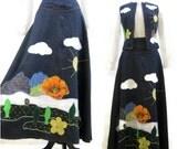 60s 70s Denim Maxi Skirt Vest Vintage Appliqued Scenic Hippie Outfit Dotti Didit M