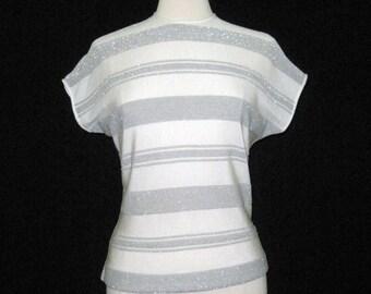 Vintage Top Sparkly Lurex Stripe Rockabilly Zipper Sweater M