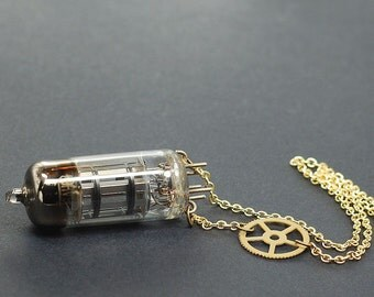 Steampunk Jewelry Necklace- Vacuum Tube Necklace, Steampunk Necklace, Radio Tube Necklace, Brass Clock Gear Necklace, Industrial Jewelry
