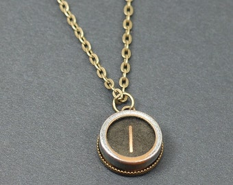 Typewriter Key Necklace- Letter I Upcycled Steampunk Jewelry, Brass Initial Necklace, I Initial Pendant, Writer Gift