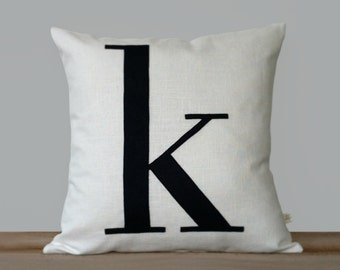 Personalized Initial Pillow | 18x18 | Modern Monogram Pillow by JillianReneDecor | Typography | Lower Case Letter | Black and White | Navy