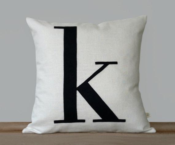 Modern Initial Pillow : Personalized Initial Pillow 18x18 Modern Monogram Pillow