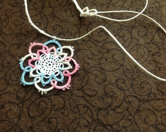 Needle Tatted Flower Pendant