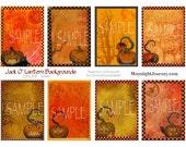 JaCk O LaNtErN BaCkGrOuNdS atc aceo 2.5 by 3.5 collage sheet halloween jol orange gold autumn carved pumpkins