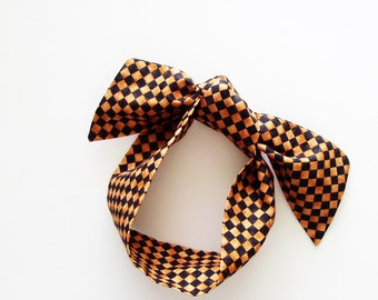 Black & Rust Orange Checks Head Scarf / Multipurpose Hair Accessory, Neck Tie, Handbag or Walker Adornment, Pet Neckerchief / Gift Under 25