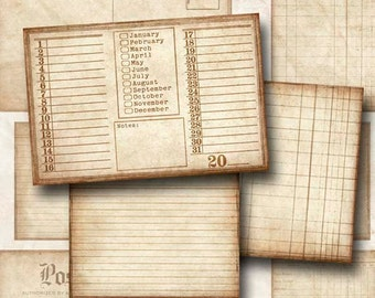 Digital Scrapbook Journal Cards Vintage Journal Cards 4 x 6 and 3 x 4 JPEG and PNG Instant Download