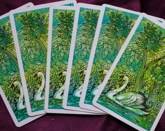 Vintage Blue Green Swan Playing Cards