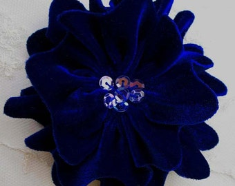 ROYAL BLUE Velvet Ribbon Rose Fabric Sequin Beaded Flower Applique Hat Corsage Pin Baby Pageant Bridal Hair Accessory Applique