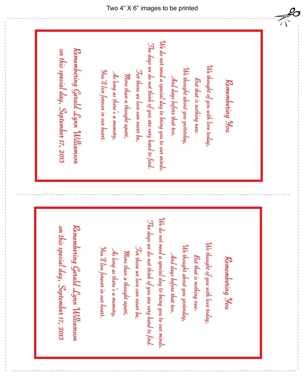 In loving memory cards custom wedding memorial poem digital files diy printable for In loving memory free printable
