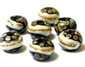 Seven Black/Ivory & Beige Rondelle Beads - Handmade Glass Lampwork Bead Set 11105001