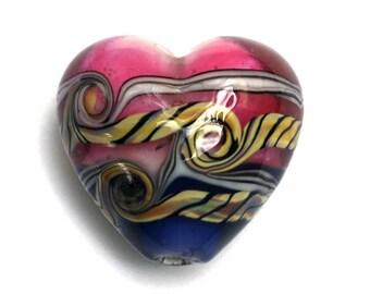 Hot Pink w/Purple Heart Focal Bead - Handmade Glass Lampwork Bead 11806215