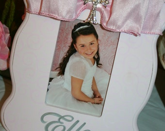 hand painted personalized first communion or christening picture frame couture pink on pink bling
