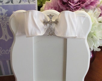 hand painted personalized first communion or christening picture frame couture white bling with lavendar
