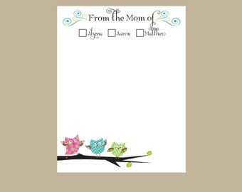 Owl Personalized notepad, From the mom of Notepad, Teacher gift, 3 Owls