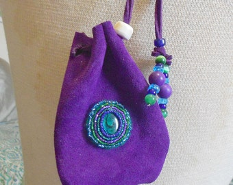 """Beaded Green Abalone Shell / Purple Suede Leather Pouch - Large Size 12.5 x 3 3/8"""" cm. (4 7/8"""" x 3 3/8"""") with Howlite / Shed Elk Antler"""
