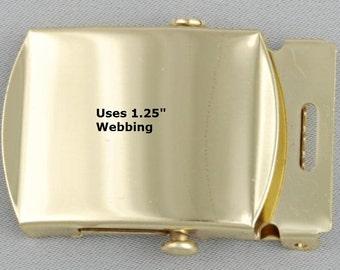 "Nickel Finish Belt Buckle  - Military Style - SHINY BRASS 1.25"""