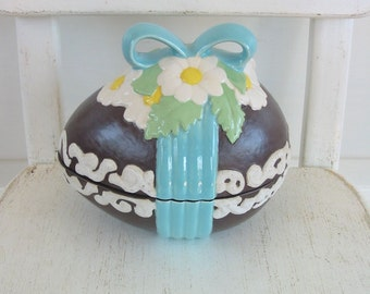 Vintage Ceramic Egg Easter Decor Candy Dish Aqua